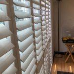 White Elmwood Patio Door Shutters In Elswick